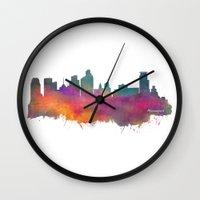minneapolis Wall Clocks featuring Minneapolis Skyline  by jbjart