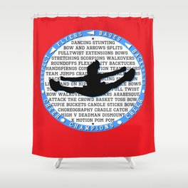 cheer blue on red Shower Curtain