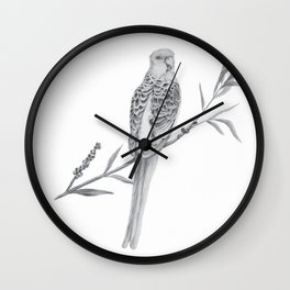 Rosella Graphite Illustration Wall Clock