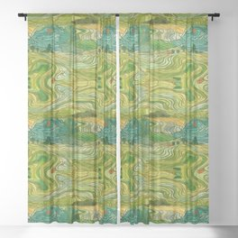 Terraced Rice Paddy Fields Sheer Curtain