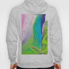 Fluid Art Acrylic Painting, Pour 31, Lime Green, Purple, Blue & Pink Blended Color Hoody