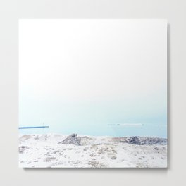 Snow on the beach Metal Print