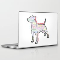 pit bull Laptop & iPad Skins featuring I am more (love is a pit bull No.4) by Shay by design
