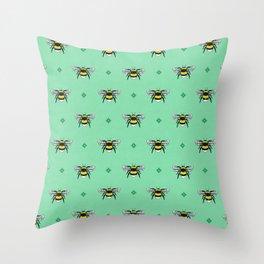 Bumblebees on Spearmint Throw Pillow