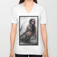 mermaid V-neck T-shirts featuring Mermaid by Justin Gedak