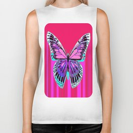 Hot Summer Monarch  Butterfly Fuchsia-Pink Abstract Biker Tank