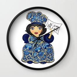 Little chef (blue) in petrykivka style Wall Clock