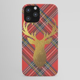 Gold Stag Head On Red Tartan iPhone Case