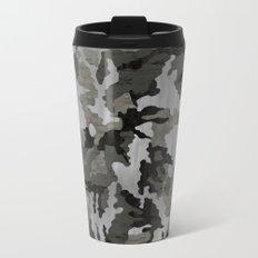 Modern Woodgrain Camouflage / Winter Birch Woodland Print Metal Travel Mug