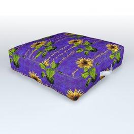 cheerful sunflower pattern on purple Outdoor Floor Cushion