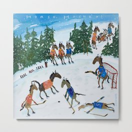 Horse Hockey! Metal Print
