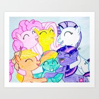 my little pony Art Prints featuring My Little Pony by Maranda Rae