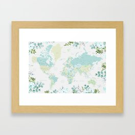 Mint and green floral world map with cities Framed Art Print