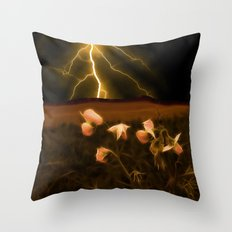 In darkest night one sees the flash but beauty soothes the karmic crash Throw Pillow