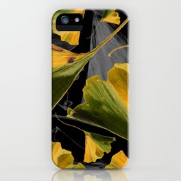 Yellow Ginkgo Leaves on Black iPhone Case