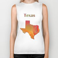 texas Biker Tanks featuring Texas Map by Roger Wedegis