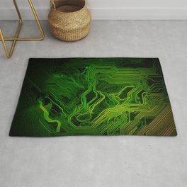 Green glowing circuit - by Brian Vegas Rug
