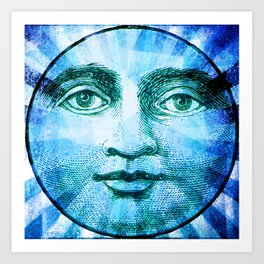 Vintage Moon Face Art Print