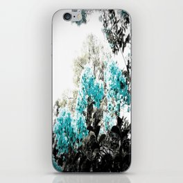 Turquoise & Gray Flowers iPhone Skin