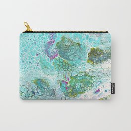Abstract contemporary painting, aerial view of the ocean and its coral reef Carry-All Pouch
