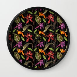 Orchids & Ink (Black Background) Wall Clock
