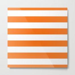 Harvest Pumpkin Orange and White Cabana Tent Stripe Metal Print
