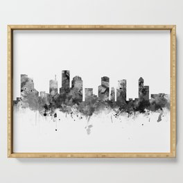 Houston Skyline Black and White Serving Tray