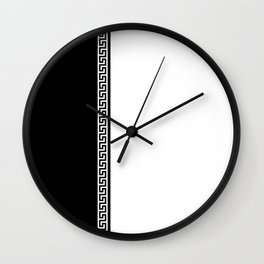 Greek Key 2 - White and Black Wall Clock