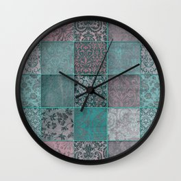 Nostalgic Patchwork Pattern Teal And Pink Wall Clock