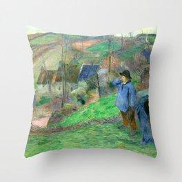 """Paul Gauguin """"Landscape of Brittany - L'Hiver à Pont-Aven, petit Breton et ramasseuse"""" Throw Pillow"""