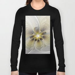 Gold And Silver, Abstract Flower Fractal Long Sleeve T-shirt