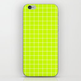 Volt - green color - White Lines Grid Pattern iPhone Skin