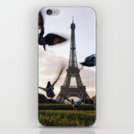 Paris Eiffel tower and flight of birds iPhone Skin
