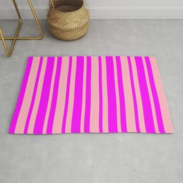 Light Pink & Fuchsia Colored Striped/Lined Pattern Rug