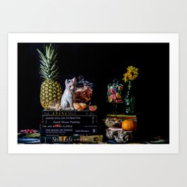Still Life with Books, Fruit, Porcelain Cat, and Candy Art Print