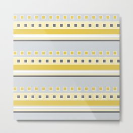 Squares and Stripes in Yellow and Gray Metal Print