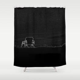 Horizon in Thin Lines Shower Curtain