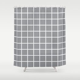 Grey Grid Pattern 2 Shower Curtain