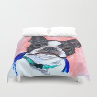 boston terrier Duvet Covers featuring Boston Terrier by A.M.