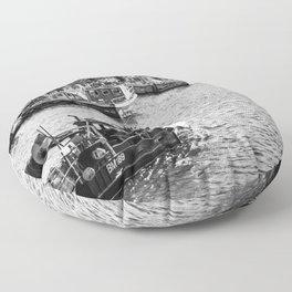 Whitby fishing boat Floor Pillow