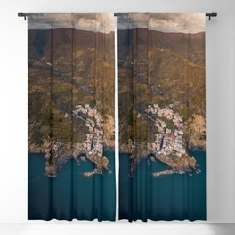 Italian Coastal Village Blackout Curtain