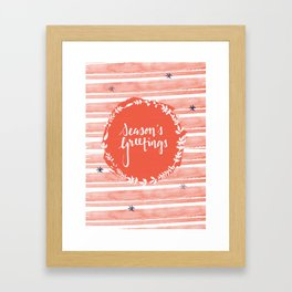Seasons Greetings (Red) Framed Art Print