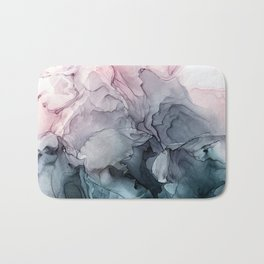 Blush and Paynes Gray Flowing Abstract Reflect Bath Mat