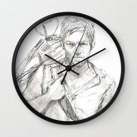 daryl Wall Clocks featuring Daryl by Eric Dockery