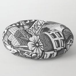 Black and White, Williamsburg Brooklyn Wall Art Floor Pillow