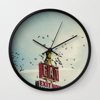 eat Wall Clocks featuring Eat by FrancisDelapena.com