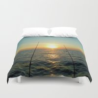fishing Duvet Covers featuring FISHING by aztosaha