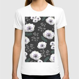 Anemones collection black pattern T-shirt