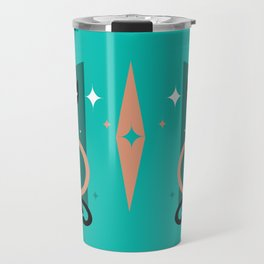Fashionable Felines Atomic Age Black Kitschy Cats Travel Mug