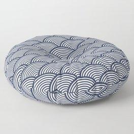 Japanese Waves Navy Floor Pillow